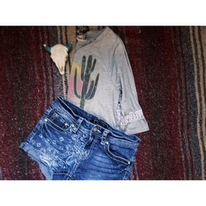 """""""SHYANNE"""" YOUNG GIRL'S DENIM SHORTS - BLUE"""